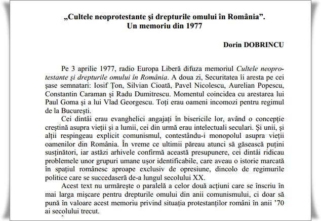 Cultele neoprotestante si drepturile omului in Romania