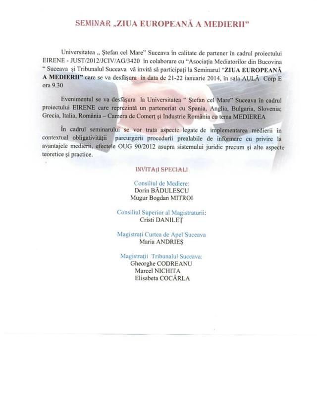 Seminar Ziua europeana a medierii