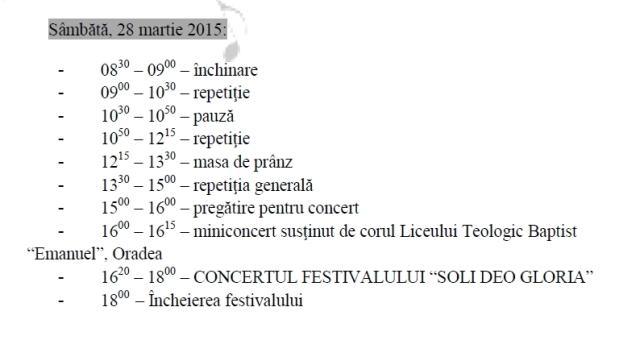 Festivalul Soli Deo Gloria 2015 Oradea