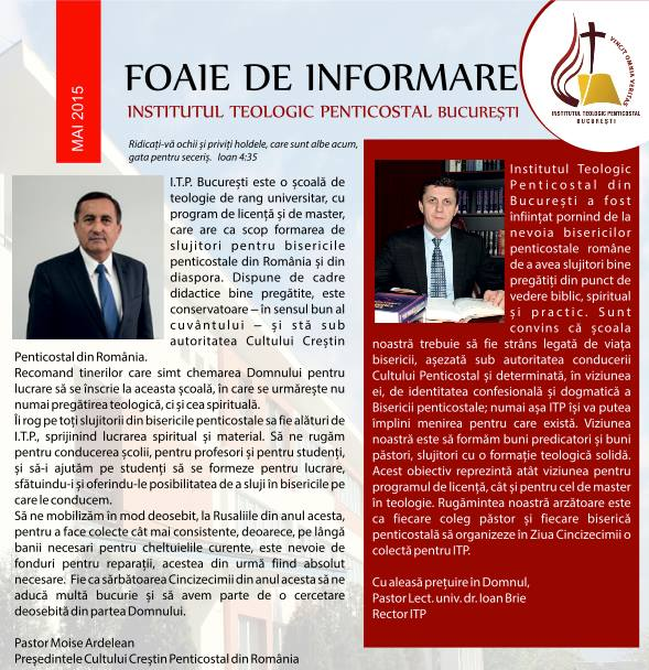 Foaie de informare Institutul Teologic Penticostal Bucuresti