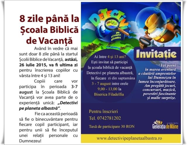 Scoala biblica de vacanta 2015