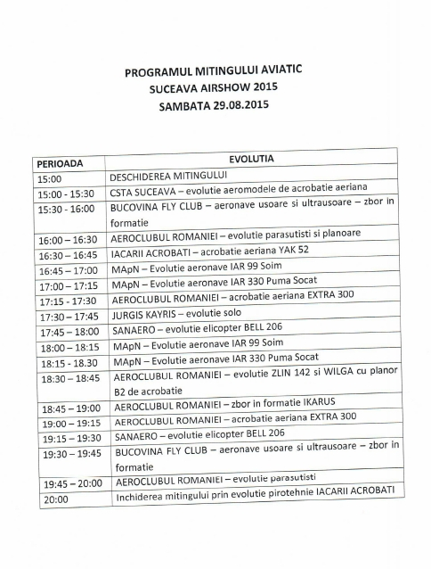 Airshow 2015 - program