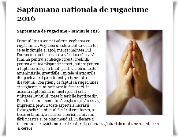 Saptamana Nationala de Rugaciune 2016