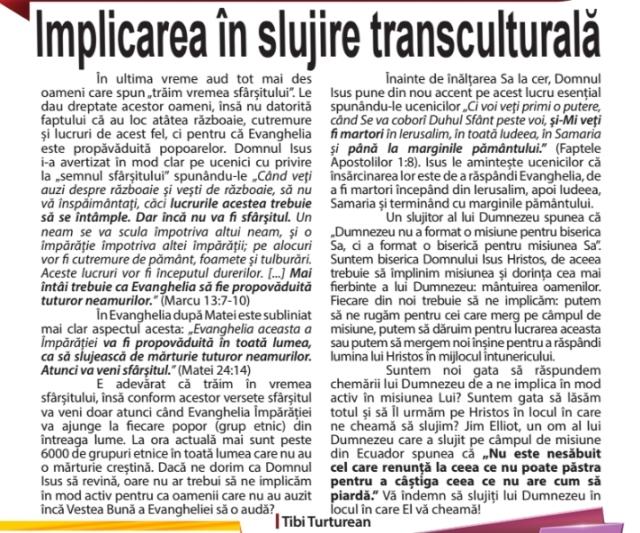 implicarea in slujire transculturala