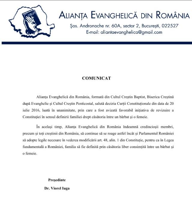 Comunicat Alianta Evanghelica din Romania