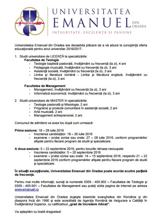 Universitatea Emanuel admitere