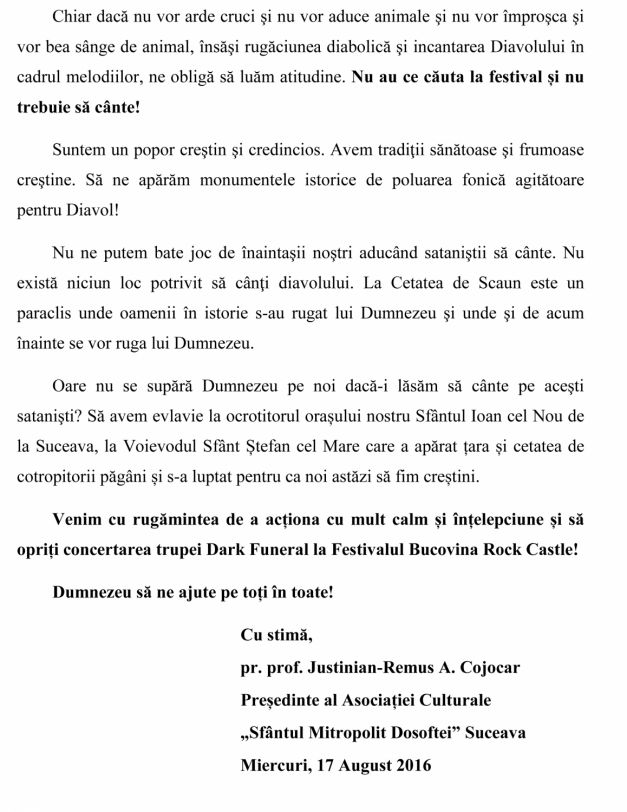 Memoriul transmis de preotul Justinian Remus Cojocaru1