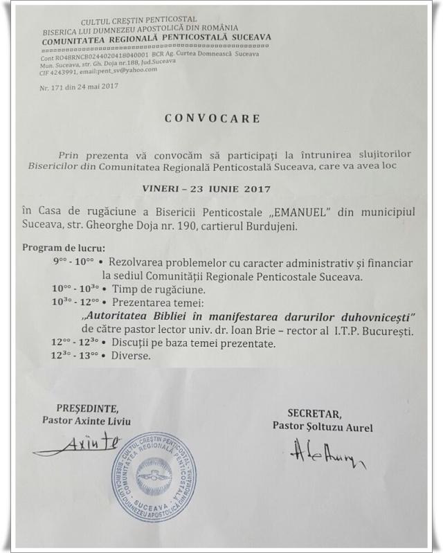 Comunitatea Regionala Penticostala Suceava - conferinta iunie 2017